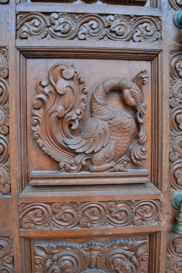 Detailed art on temple doors