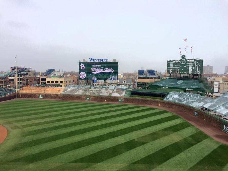 Wrigley Field sports their new light up board beginning the 2015 season.